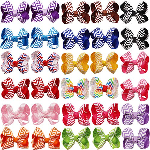 DED 30 pcs 3 Inch Hair Bows Clips Stripe Grosgrain Ribbon Hair Clips Hair Accessories for Baby Girl Toddler Kid(15 Pair) (Hair Bow Stripe)