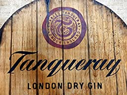 Tanqueray Personalized decorative Sign - Gin barrel top barrel top | Handpainted artwork and your additional message on a carved, distressed wood plaque | Vintage wall decor
