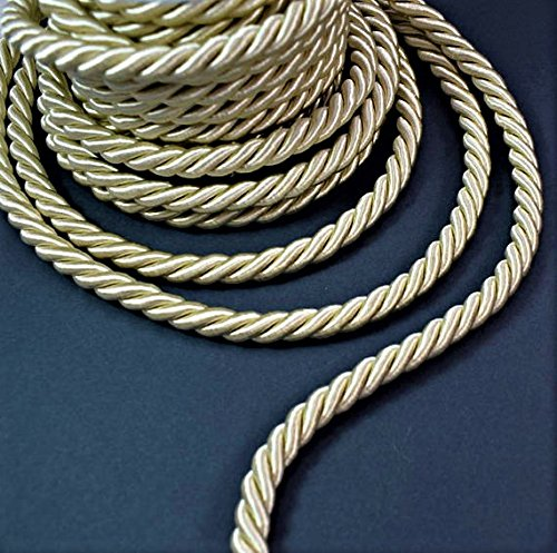 9 mm Satin twist cord, Ivory decoration trim (5yards) braided cord Shiny Cord Choker Thread Twine String Rope Piping Supplies (Cord Cording Trim)