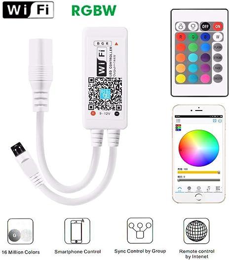 MEKEET LED controller Mini RGB Led Streifen Kontroller Wlan Fernbedienung 16 Millionen Farben,20 Dynamische Modi,Sound Aktiviert Arbeiten mit Android//IOS Wifi//App gesteuert