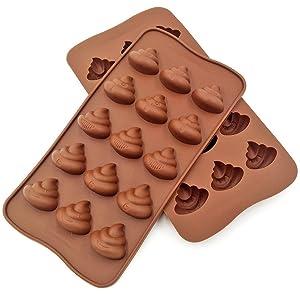 絵文字Poopシリコン金型–COMKIT 15-cavityかわいい面白い絵文字Poop Emotion Bakingメーカー金型トレイケーキ用デコレーション、チョコレート/キャンディ/ Fondant /グミ/ Ice Cube Making