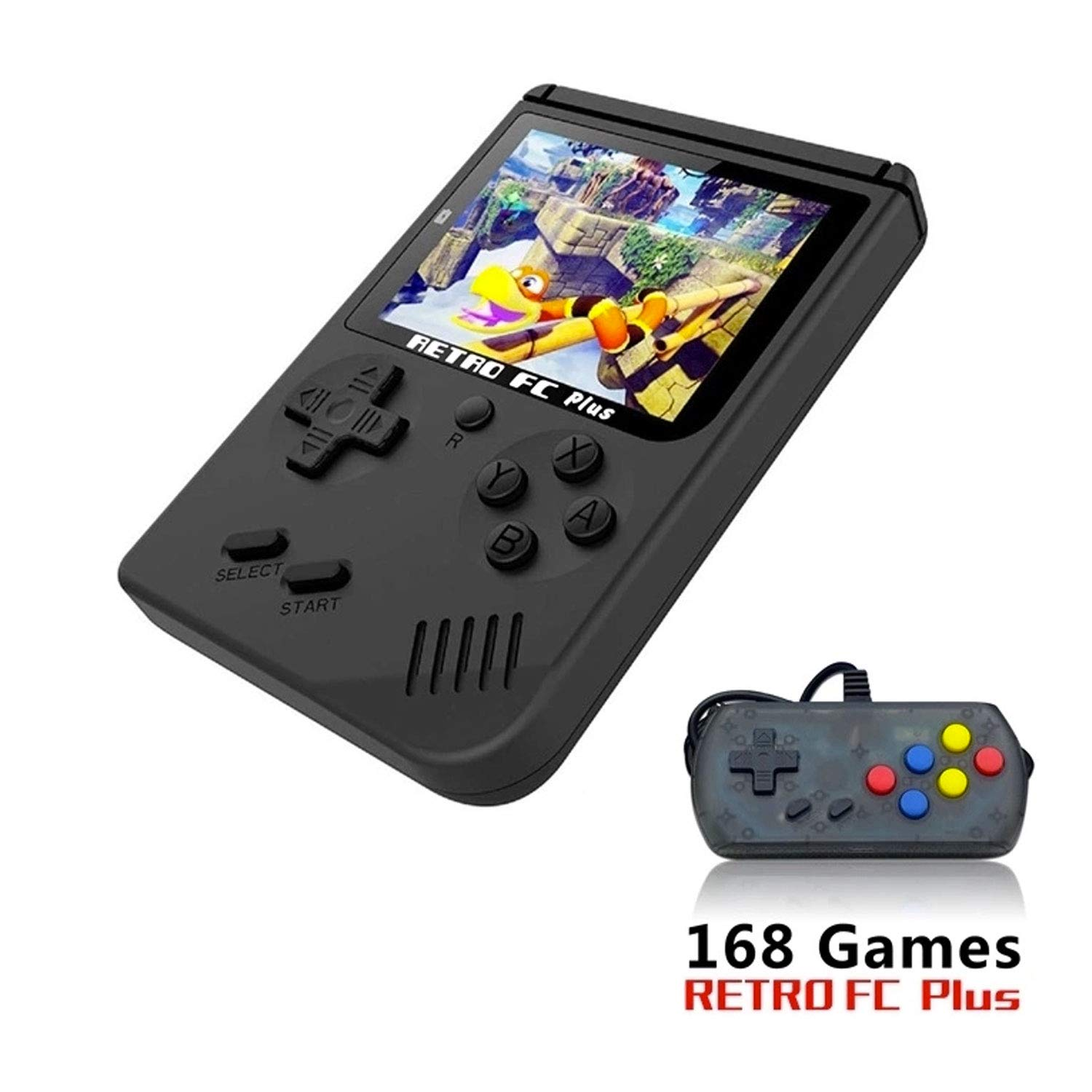 Nidoum 168 Games 8 Bit Handheld Game Console Players 3 Inch Screen Video Game 1 USB Charge & one Joystick Controller ,Birthday Presents for Kids (Black Plus)