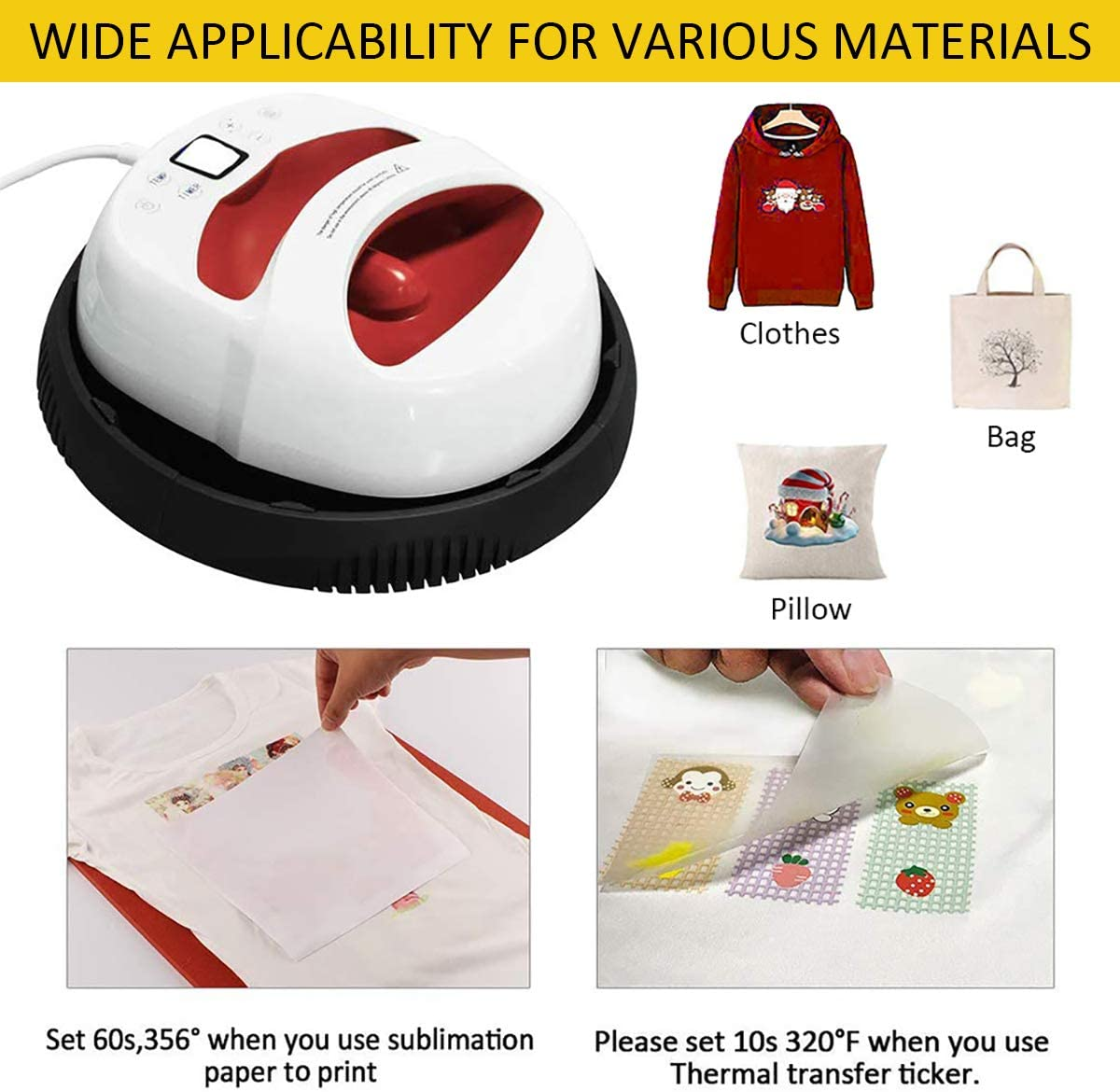 12x10inch EasyPress Mat Included 12/×10 Heat Press Machine for t Shirts Portable Hand Free Rapid Even Heat Easy Press Sublimation T-Shirt Press Printing Machine