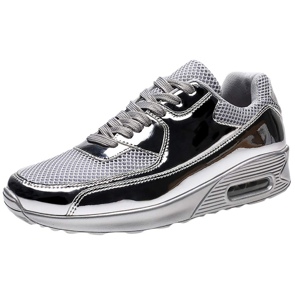 Men's Sport Shoes Lightweight Athletic Running Breathable Air Fitness Gym Walking Casual Sneakers (Silver, US:8)