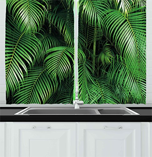 Green Kitchen Curtains by Ambesonne, Tropical Exotic Palm Tree Leaves Branches Botanical Photo Jungle Garden Nature Eco Theme, Window Drapes 2 Panels Set for Kitchen Cafe, 55W X 39L Inches, Green