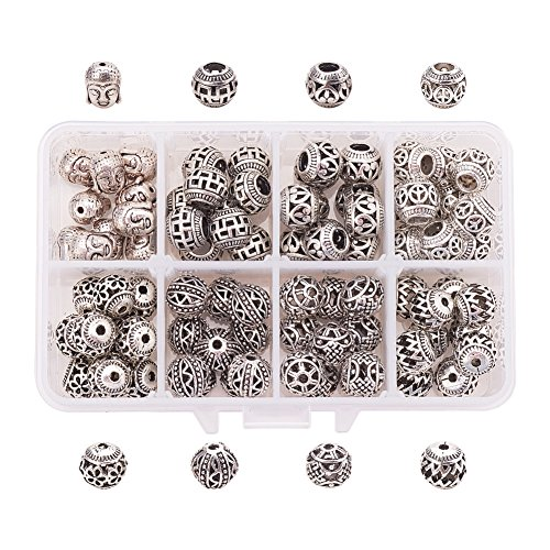 PH PandaHall 80pcs 8 Style Antique Tibetan Silver Ball Bali Spacer Beads Charm European Beads for Bracelet Necklace Jewelry Making Findings Accessories