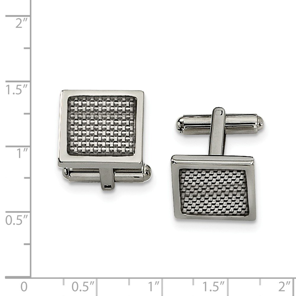 Jewel Tie Stainless Steel Polished with Grey Carbon Fiber Inlay Cuff Links
