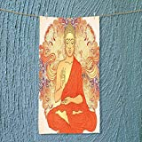SOCOMIMI Microfiber Towel Decor Meditation Aura Thai Temple Ornamental Motive Spiritual Design Print Accessories Orange High Absorbency