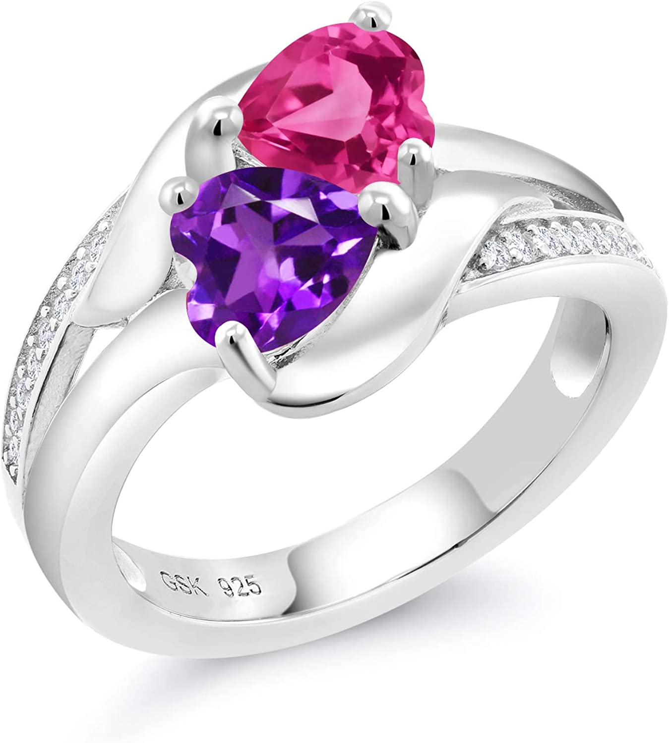 Gem Stone King 925 Sterling Silver Engagement Ring Promise Ring Customized & Personalized 2 Birthstone Heart Shape Build Your Own For Her Heart Ring