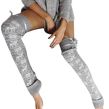 e90d5fa6820 Laine Chaussettes Montantes Femme HIver Bottes Chaussettes Haute a motifs  Cerf (Gris)