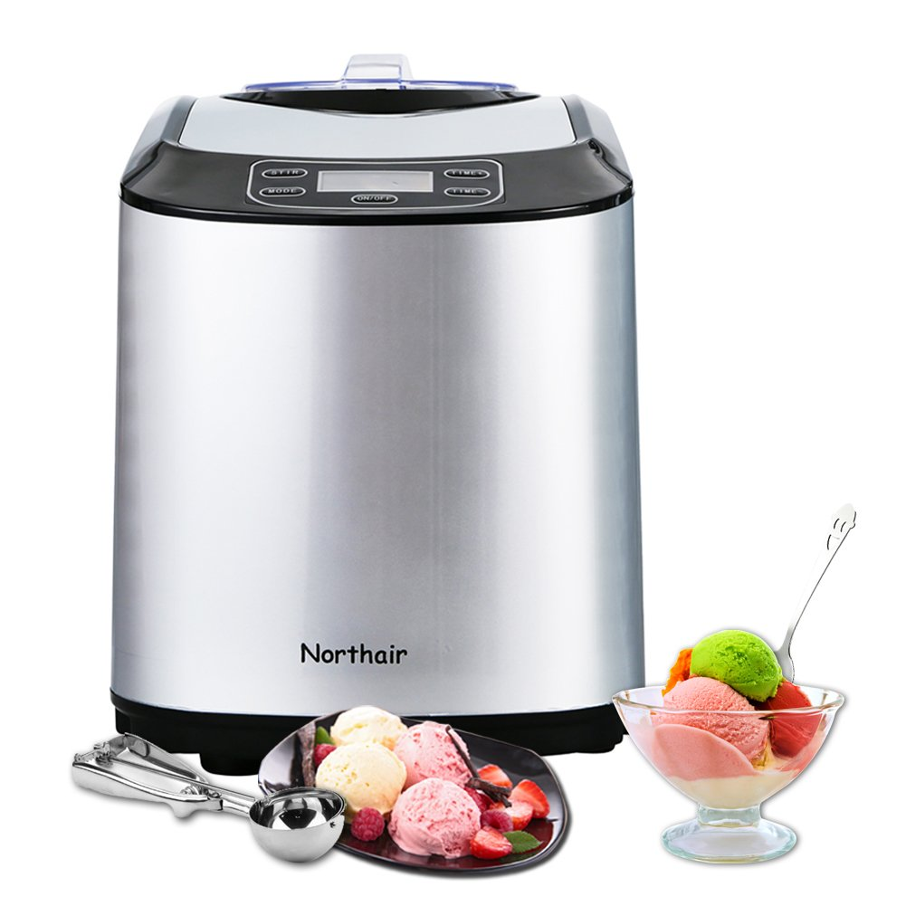 Northair ICM15 Automatic Ice Cream Maker Makes Hard & Soft Serve Ice Cream, Gelato, Sorbet and Frozen Yogurt with Build-in Cooling Compressor, LCD Digital Display (Silver)