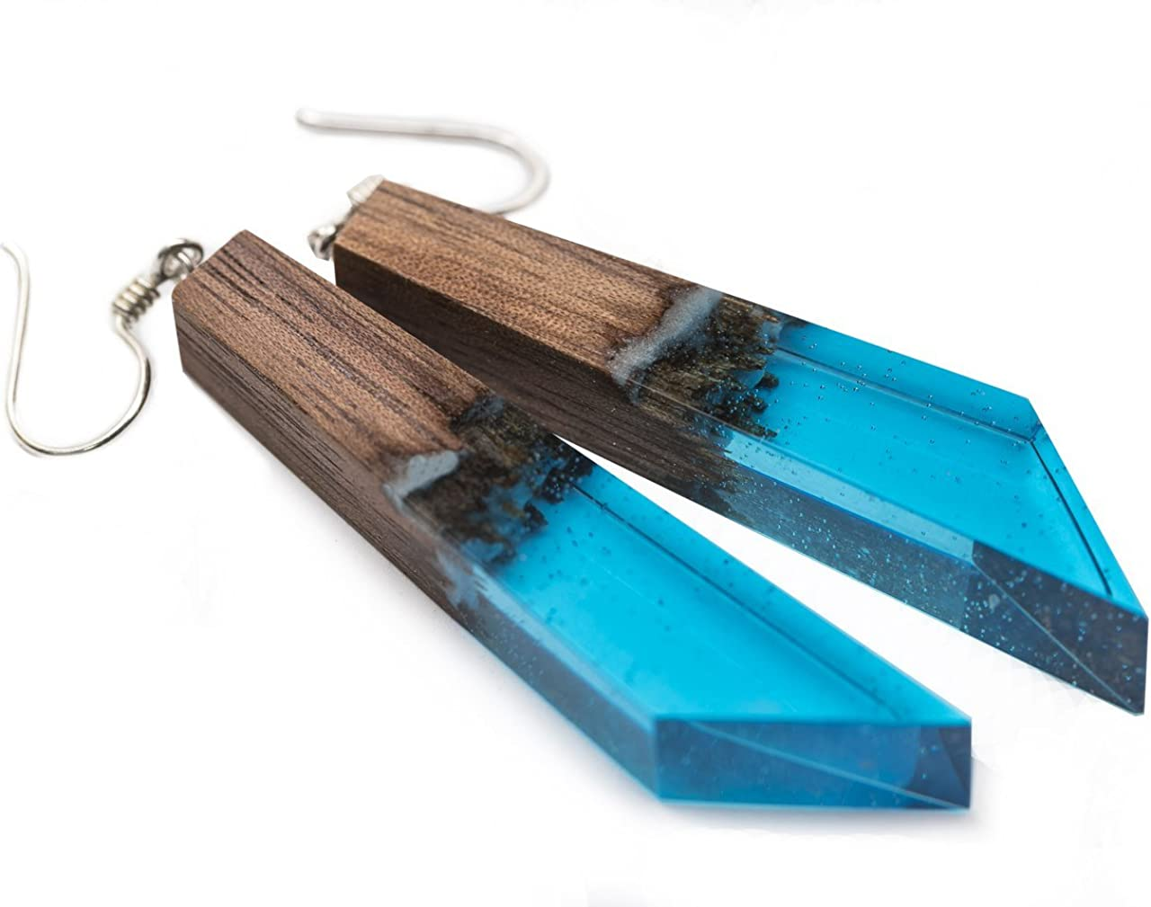 Earring component pendants with blue resin Pack of 10