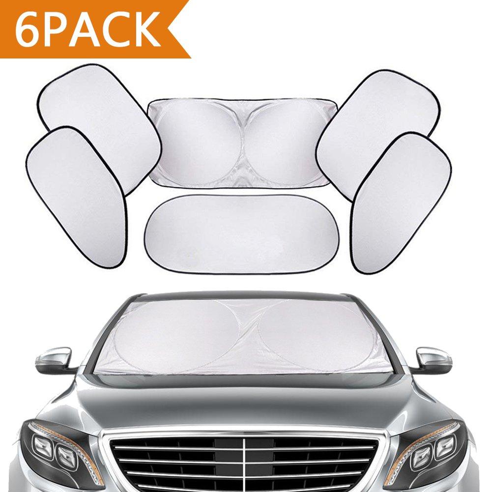 Tendine Parasole auto, PEMOTech [6 Pack] l'intero parabrezza gli occhiali da sole a scomparsa, forti radiazioni ultraviolette deflettore, adatto alla maggior parte dei veicoli di utilità e minivan SUV camion di alta qualità tenda da sole auto