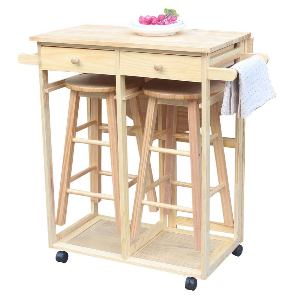 U-smile Foldable Dining Cart with Wooden Handle, Semicircle Dining Cart with Round Stools