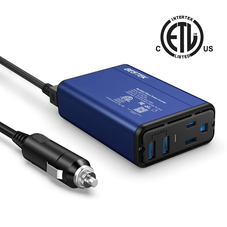 BESTEK 150W Car Power Inverter DC 12V to 110V AC Car Converter 4.2A Dual USB Car Adapter Thinner Design with ETL Listed
