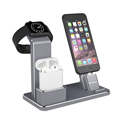 YoFeW Charging Stand for Apple Watch Aluminum Watch Charging Stand Dock Holder Compatible for iWatch Apple Watch Series 4/3 / 2/1/ AirPods/iPhone X/XS/XS Ma /8 / 8Plus / 7/7 Plus /6S /6S Plus