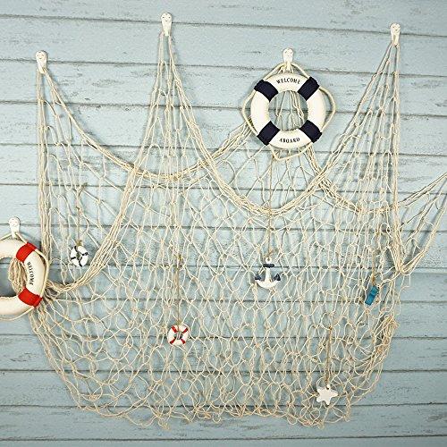 Bilipala Fishing Net Decor,Fishing Net, Wall Hangings Decor,Mediterranean Style Photographing Decoration, Creamy White