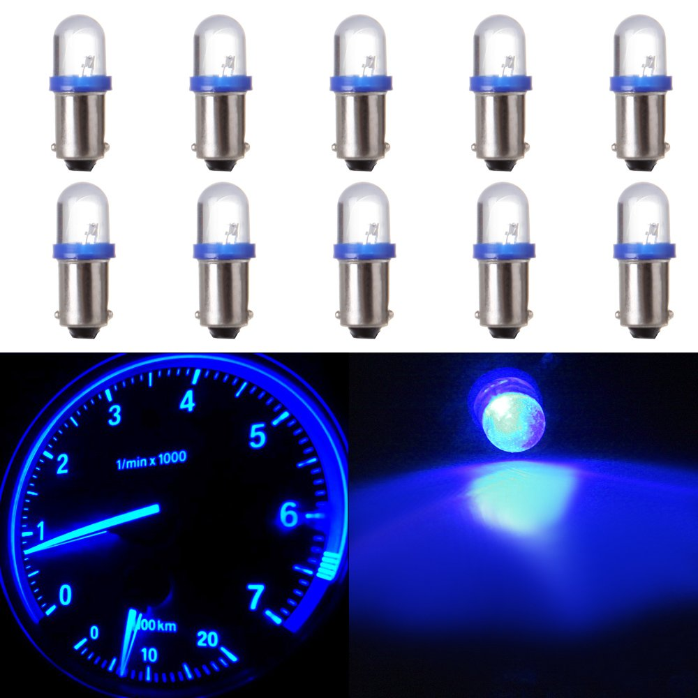 blue cciyu 10X 1895 BA9S LED Light Dash Instrument Panel Cluster Ash Tray Light Bulbs 1815 1816 182 1889 1891 1892 Replacement fit for Instrument panel Glove box License plate Boat cabin lamp Blue