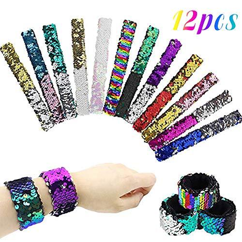 HEHALI 12 Pcs Mermaid Slap Bracelet Two-Color Reversible Charm Bracelets Magic Sequins Flip Wristband Bracelets for Birthday Party Favors -