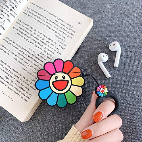 Airpods Case, AKXOMY Airpods Sun Flower Case, Cute Cartoon Silicone Earphone Case Cover Protective Clip Skin for AirPods 1&2 (Sun Flower)
