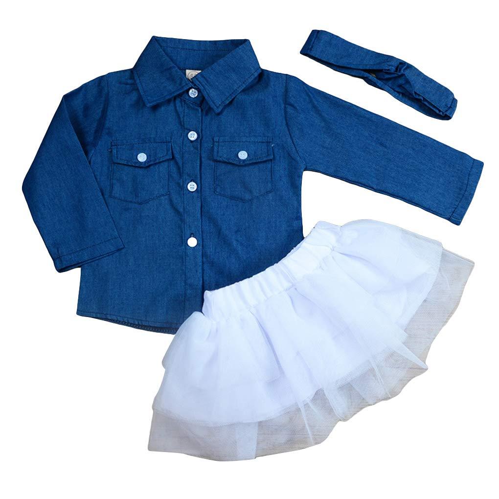 Riverlily 3Pcs Toddler Girls Kids Clothes Set Jeans Shirt Mesh Tutu Skirt Headband