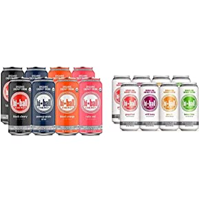 Hiball Energy 4 Flavor Certified Organic Energy Drink Variety Pack, 16 Fluid Ounce Cans, 8 Count & 4 Flavor Sparkling Energy Water Variety Pack, Zero Sugar and Zero Calorie Energy Drink, Pack of 8
