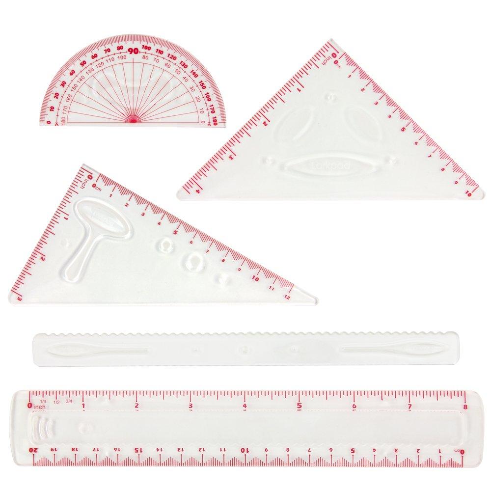Larkpad morbido plastica Combo righelli 15 cm, 180 gradi goniometro, 2 triangolo e 1 Wave, 5 in 1 pezzi flessibile righelli, pollici e metrica, per ufficio o scuola, rosa Fonglex