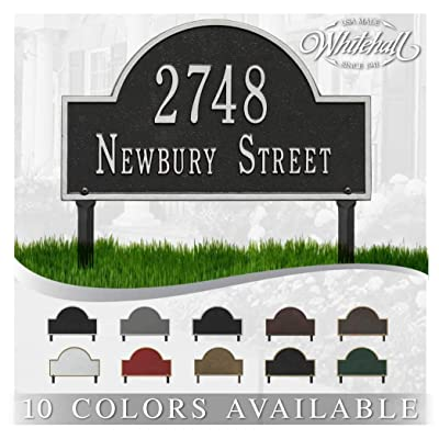 Metal Address Plaque Personalized Cast Lawn Mounted Arch Plaque. Display Your Address and Street Name. Custom House Number Sign. : Garden & Outdoor