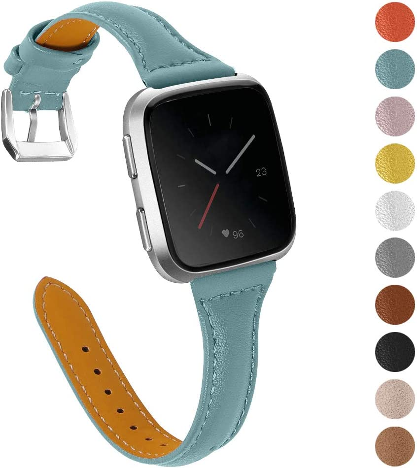 Joyozy Genuine Leather Bands Compatible with Fitbit Versa/&Fitbit Versa 2 /&Fitbit Versa SE/&New Fitbit Versa Lite Smartwatch,Replacement for Accessories Fitness Strap Women Men 5.5-7.8