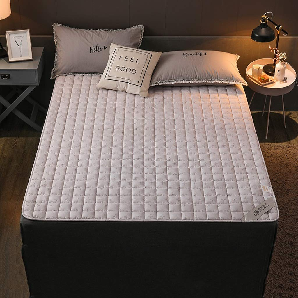 HY Mattress - Thin Padded Home 1.2 M 1.5 M 1.8 M, Bed Mat Single Double Student Dormitory Mat (Color : Light Gray, Size : 150x200cm)