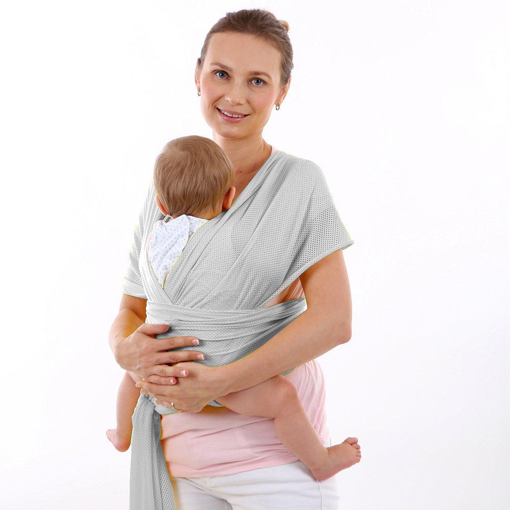 CETTICII Echarpe de portage bébé, blanche, porte bébé en coton très léger  pour un 98d02593c1d