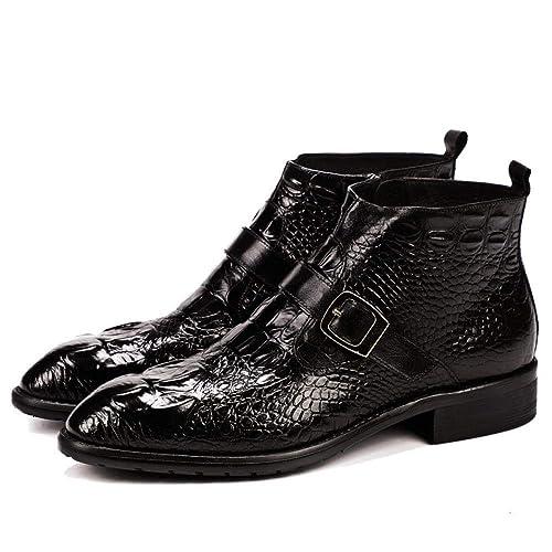 Calzado Alto para Hombre, Botas Negras De Cocodrilo, Botines De Corbata para Hombres, Rojo Vino: Amazon.es: Zapatos y complementos