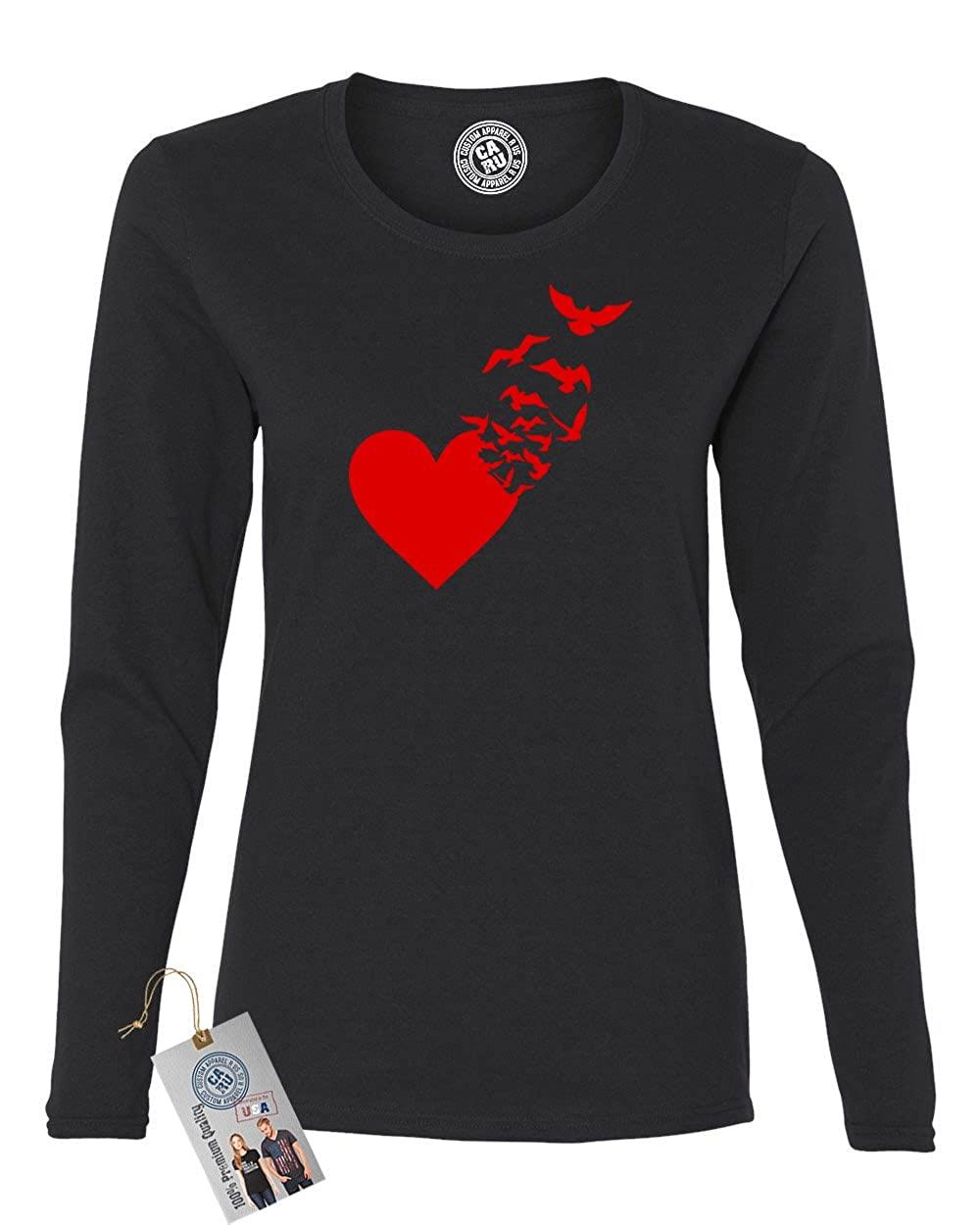 Valentines Day Heart Birds Womens Long Sleeve