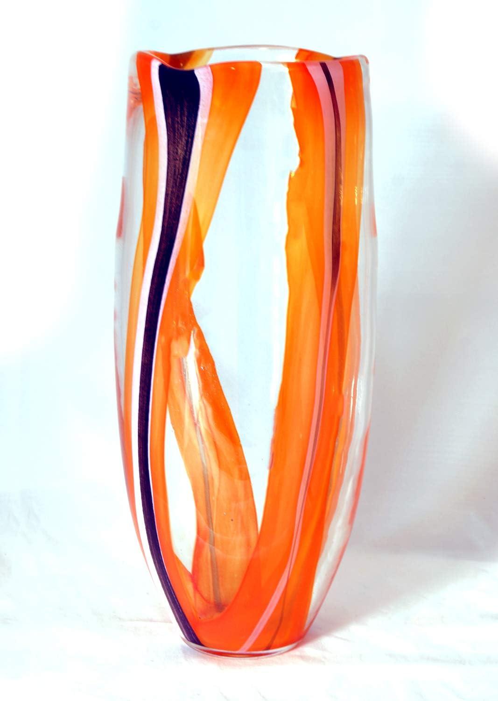 Decorative Glass Vase Handmade Walkeri, Hand Blown Vase, Vases for Home Decor, Multicolor