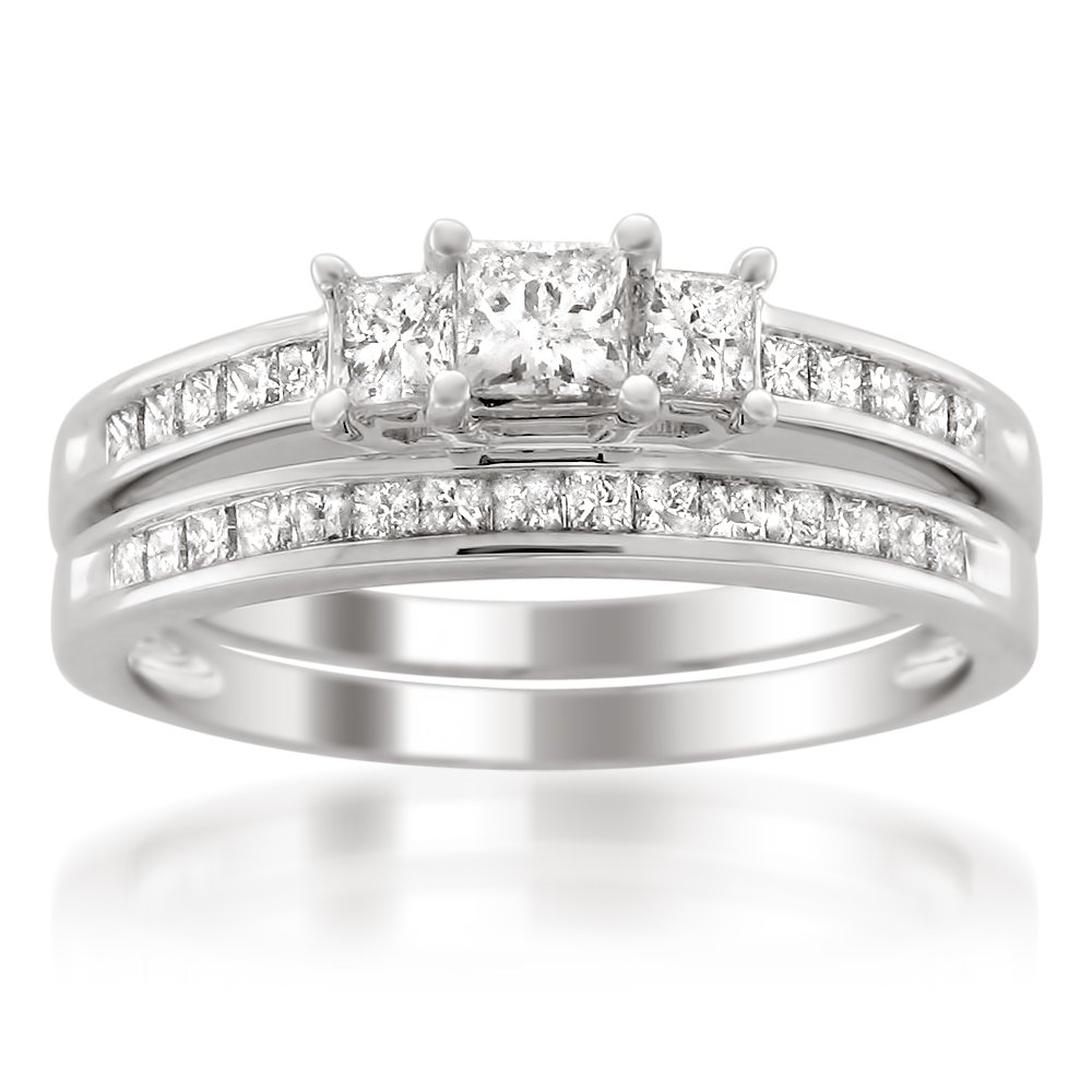 14k White Gold Princess-cut Three-Stone Diamond Bridal Set Wedding Ring (1 cttw, I-J, I1-I2), Size 7