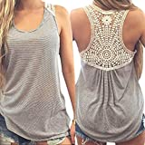 upf tank top - Gillberry Women Summer Lace Vest Top Short Sleeve Blouse Casual Tank Top T-Shirt (L)