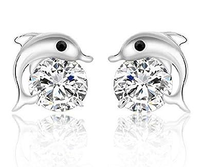 Hosaire Womens Girls Earrings Fashion Cute Crystal Fashion Heart-shaped Silver Glittering Stud Earrings Gift-2pcs MbafhXwha