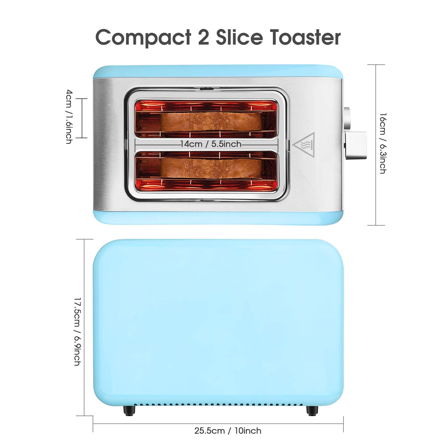 MKG 2 Slice Toaster, Stainless Steel Bagel Toaster with Extra Wide Slots, 6 Shade Settings, Bagel/Defrost/Cancel Function, Removable Crumb Tray, High Lift Lever, Blue