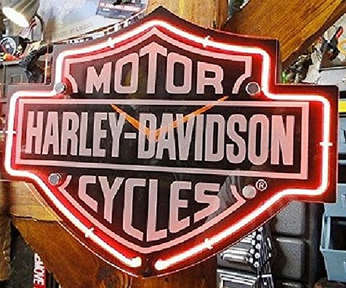 Harley-Davidson Etched Bar & Shield Shaped Neon Clock HDL-16651 Black (Harley Davidson Neon Clock)