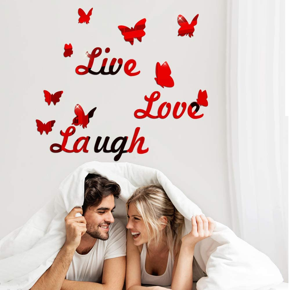 Live Love Laugh Acrylic Mirror Wall Decals with Butterfly, Mirror Surface Wall Stickers for Bedroom Living Room, Removable DIY Wall Art Decor Home Decoration (Red)