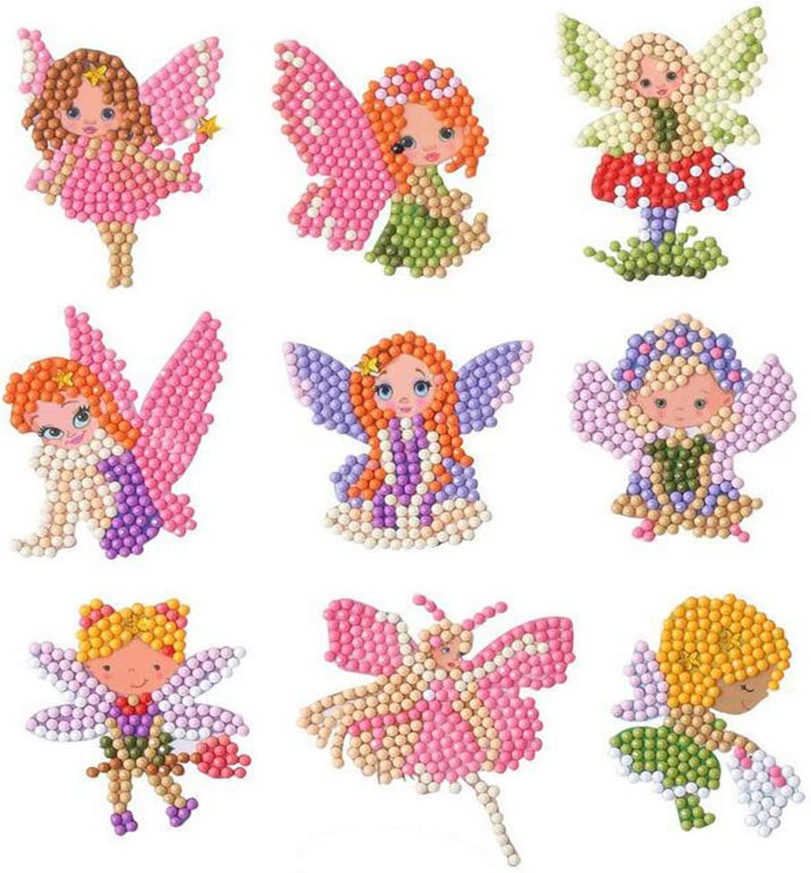 5D Diamond Painting Stickers Kits for Kids DIY Diamond Painting Art Cute Cartoon Princess Theme Paint with Diamonds by Numbers Kit for Children Beginners