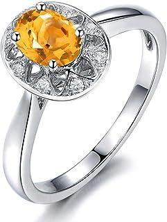 AmDxD Bijoux Argent Sterling 925 Bagues de Mariage pour Femme Coupe Ovale Zircone Cubique Forme Ovale Bague