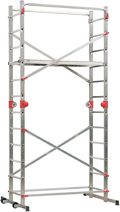 Hailo 9459-501 Escalera plegable, Aluminio, Rojo: Amazon.es: Hogar