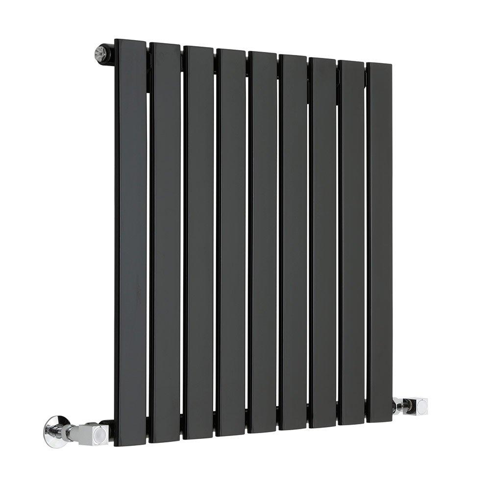 Hudson Reed - Moderno Radiador Diseño Horizontal Ultra Plano en Acero (Negro Lúcido) - 447 Vatios - 635 x 630 mm - 9 Elementos Verticales - Calefacción Agua ...
