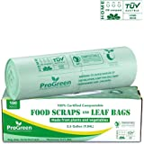 ProGreen 100% Compostable Bags 2.6 Gallon, Extra Thick 0.71 Mil, 100 Count, Small Kitchen Trash Bags, Food Scraps Yard…