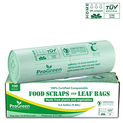 Amazon.com: ProGreen Bolsas 100% compostables de 2.6 galones ...