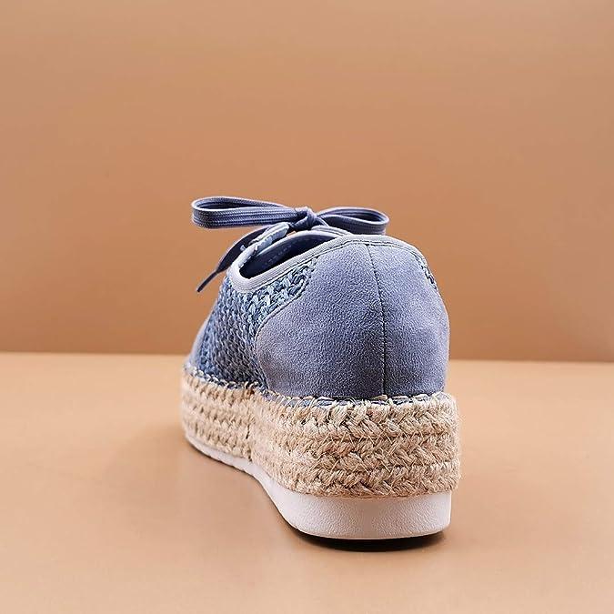 Chaussure Mode Espadrille Baskets Tennis Plateforme Boh/ème Femme Corde La/çage avec de la Paille Talon Plat 5 CM Angkorly