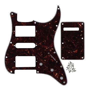 Fleor - Placa trasera para guitarra eléctrica Fender con 11 orificios, 4ply, brown tortoise shell: Amazon.es: Instrumentos musicales