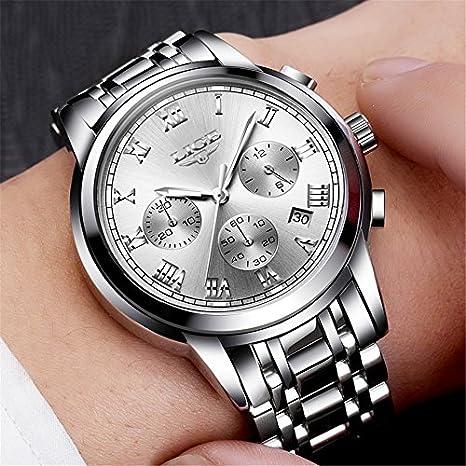 Amazon.com: Relojes de Hombre Male Reloj Hombre de Cuarzo Acero Inoxidable Fashion Casual Sports Quartz RE0095: Watches