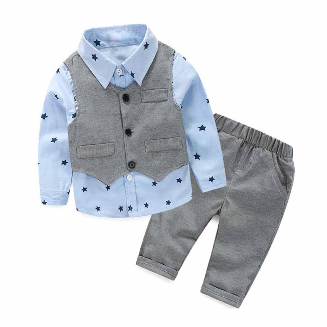 Bluestercool Vêtements enfant bébé garçon Gris Gilet + Pantalon Long + Chemises Ensembles Costume 3 pièces